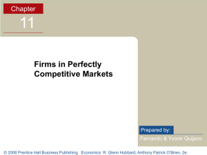 Chapter 11: Firms in Perfectly Competitive Markets