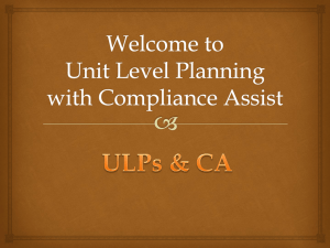 Welcome to Unit Level Planning with Compliance Assist