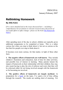 1. The negative effects of homework are well known.