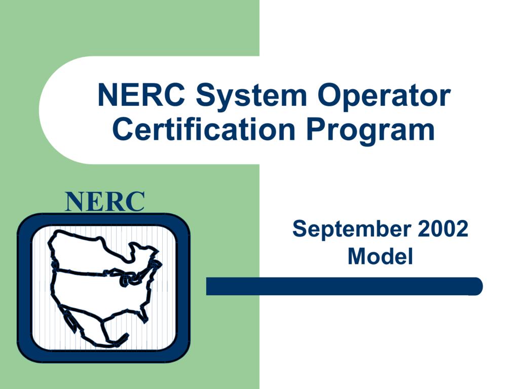 Nerc System Operator Certification 2002