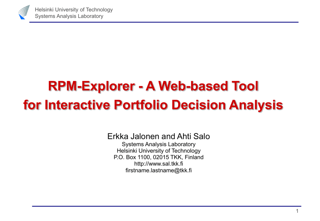 RPM-Explorer - A Web-based Tool for Interactive Portfolio Decision