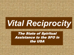 Vital Reciprocity - The National Fraternity of the Secular Franciscan
