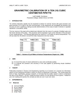 calibration of pipette discussion