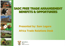 sadc free trade arrangement benefits