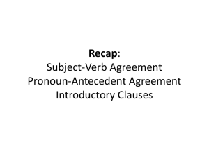 Recap: Subject-Verb Agreement Pronoun