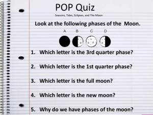 POP QUIZ TIDES ECLIPSES SEASONS PHASES
