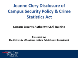 Campus Security Authority - University of Southern Indiana