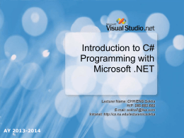 Chapter 01-Introduction to C# Programming with Microsoft .NET