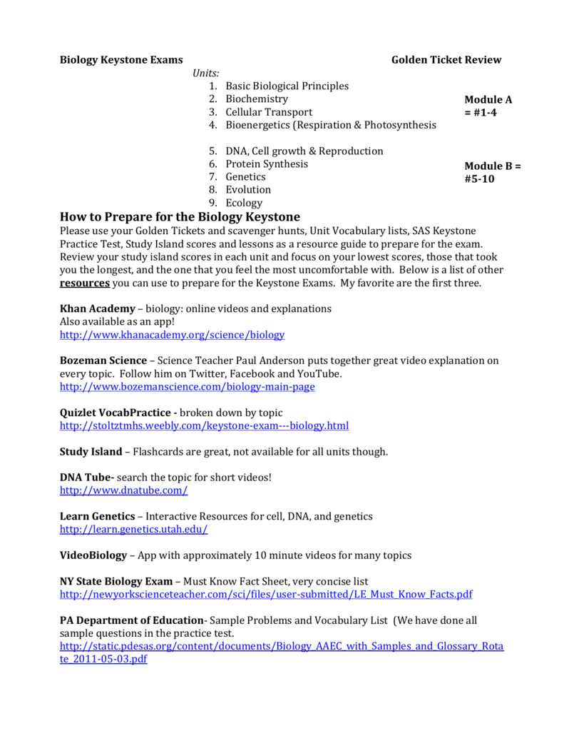 BiologyKeystoneExamsGoldenTicket – Human Footprint Worksheet