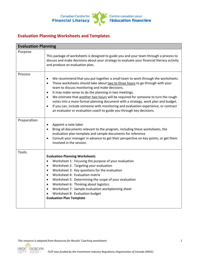 Evaluation budget template