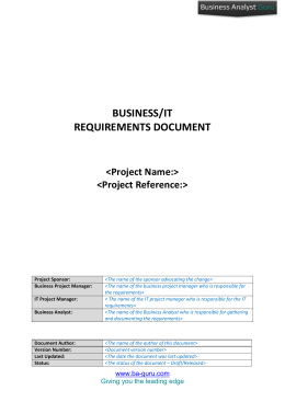 Detailed Business/IT Requirements