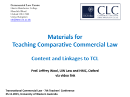 Teaching Comparative Commercial Law