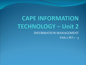 CAPE INFORMATION TECHNOLOGY – Unit 2 mod 1 so 1-3