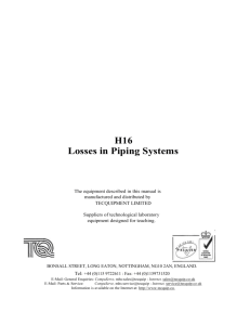 H16 Losses in Piping Systems