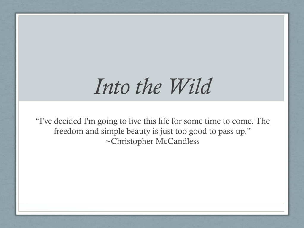 Connie Teaching Resources | Teachers Pay Teachers |Into The Wild Powerpoint