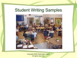 Student Writing Samples