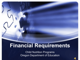 Financial Requirements - Oregon Department of Education
