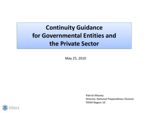 Continuity Guidance for Governmental Entities and