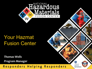 National Hazardous Materials Fusion Center