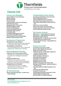 Course List Primary Care Managers