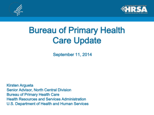 Overview of Bureau of Primary Health Care – FQHCs