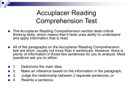 how to study for the accuplacer reading test