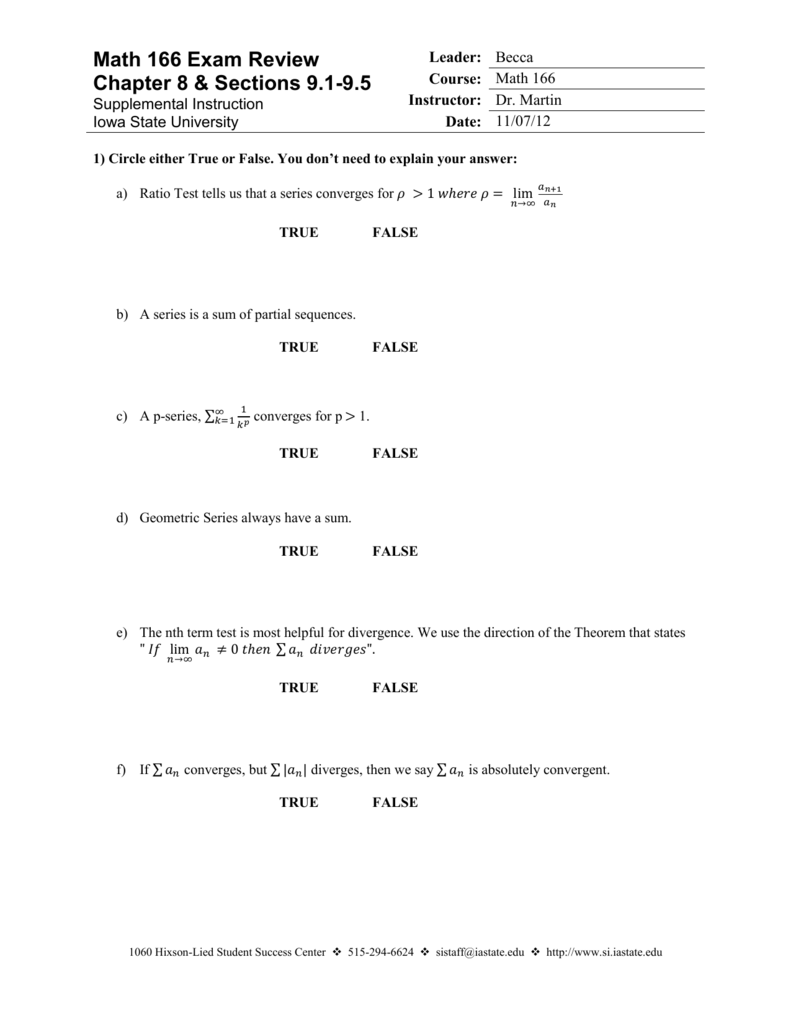 Math 166 Exam Review Chapter 8 & Sections