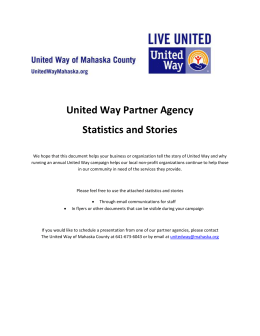 United Way Partner Agency Stories and Statistics