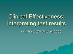 Clinical Effectiveness: Interpreting test results