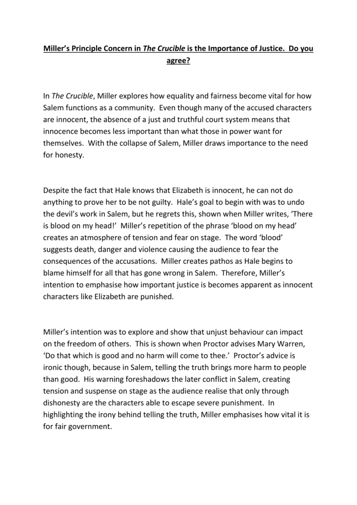 Essay on the crucible