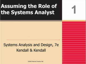 Assuming the Role of the Systems Analyst