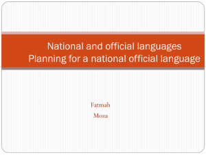 National and official languages Planning for a national official