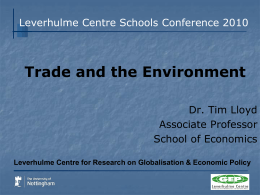 Trade and the Environment - University of Nottingham