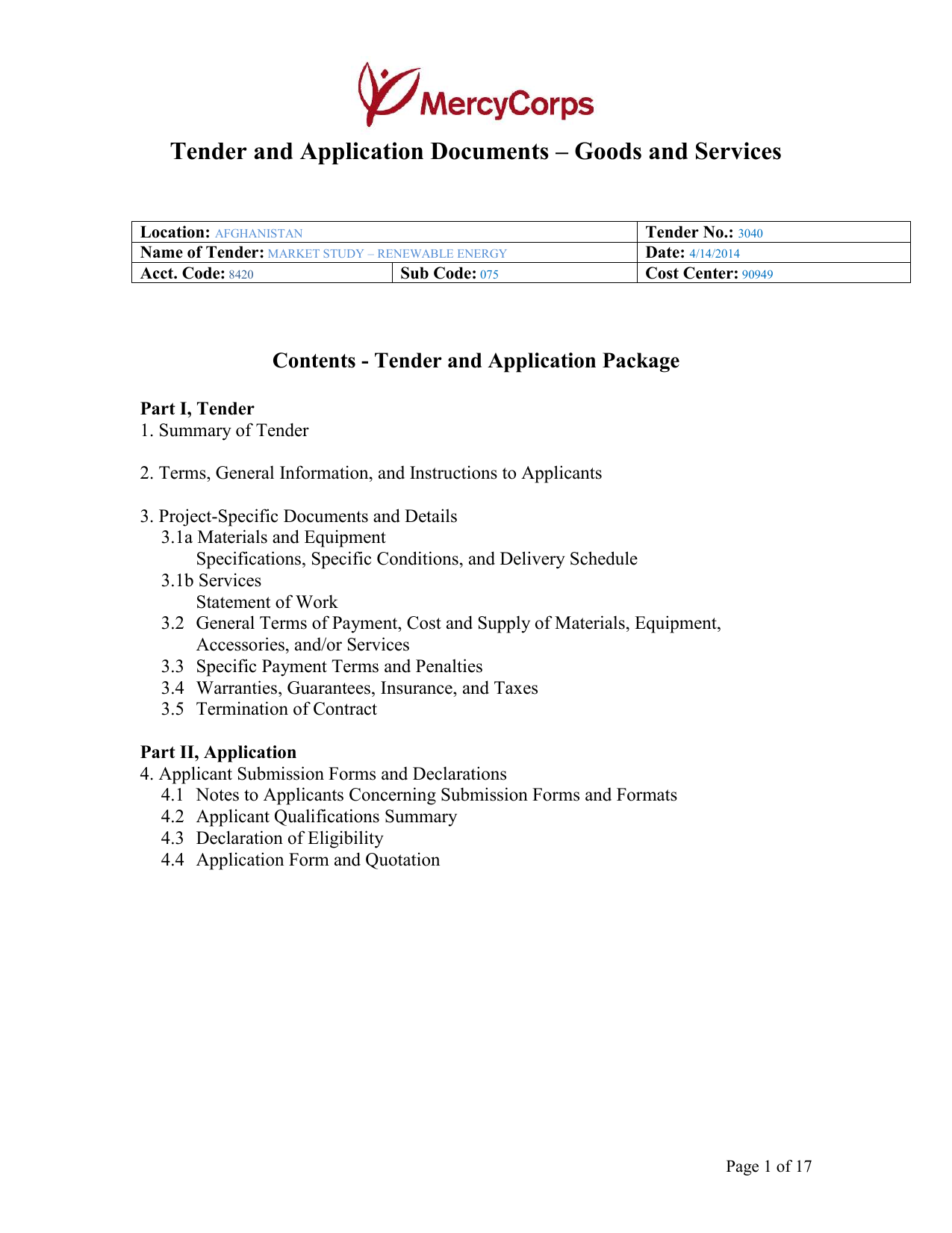 Tender Document Receipt