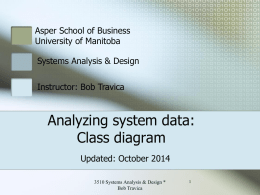 Analyzing system data: Class Diagram