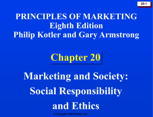 Chapter 20: Marketing and Society: Social Responsibility and