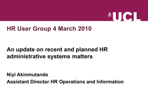 An update on recent and planned administrative systems matters
