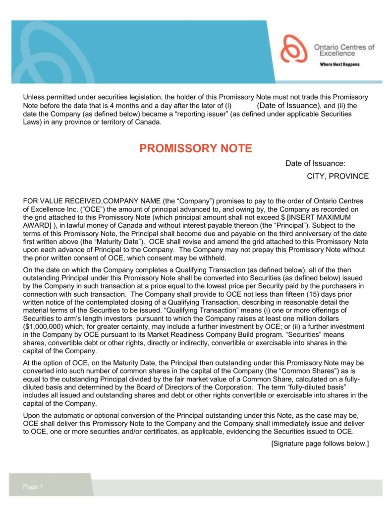 promissory note - ontario centres of excellence