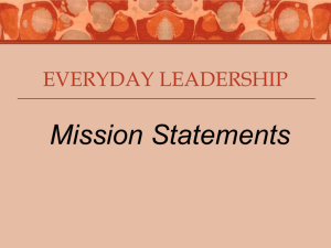 Everyday Leadership: Mission Statements