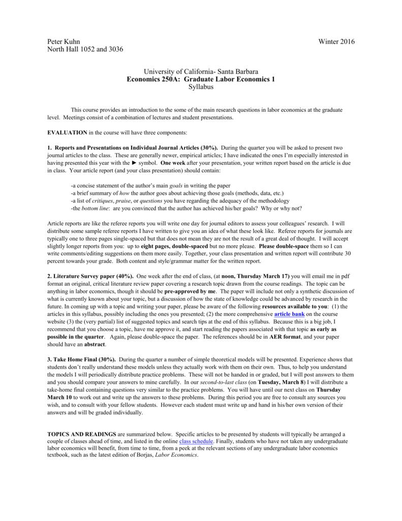 labor economics research topics