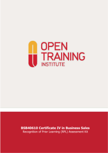 BSB40610 Certificate IV in Business Sales