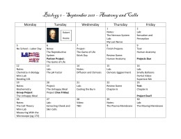 Biology 1 – September 2011 – Anatomy and Cells Monday Tuesday