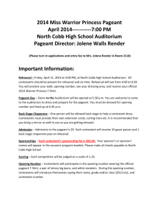 2014 Miss Warrior Princess Pageant Contestant Information Sheet