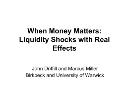 When Money Matters - World Economy & Finance Research