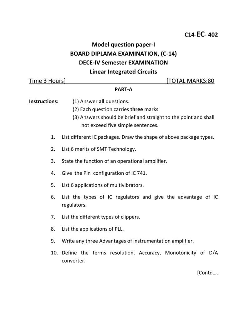 Linear Integrated Circuits End Exam Model Question Papers I Ii Circuit Amplifier Images Of
