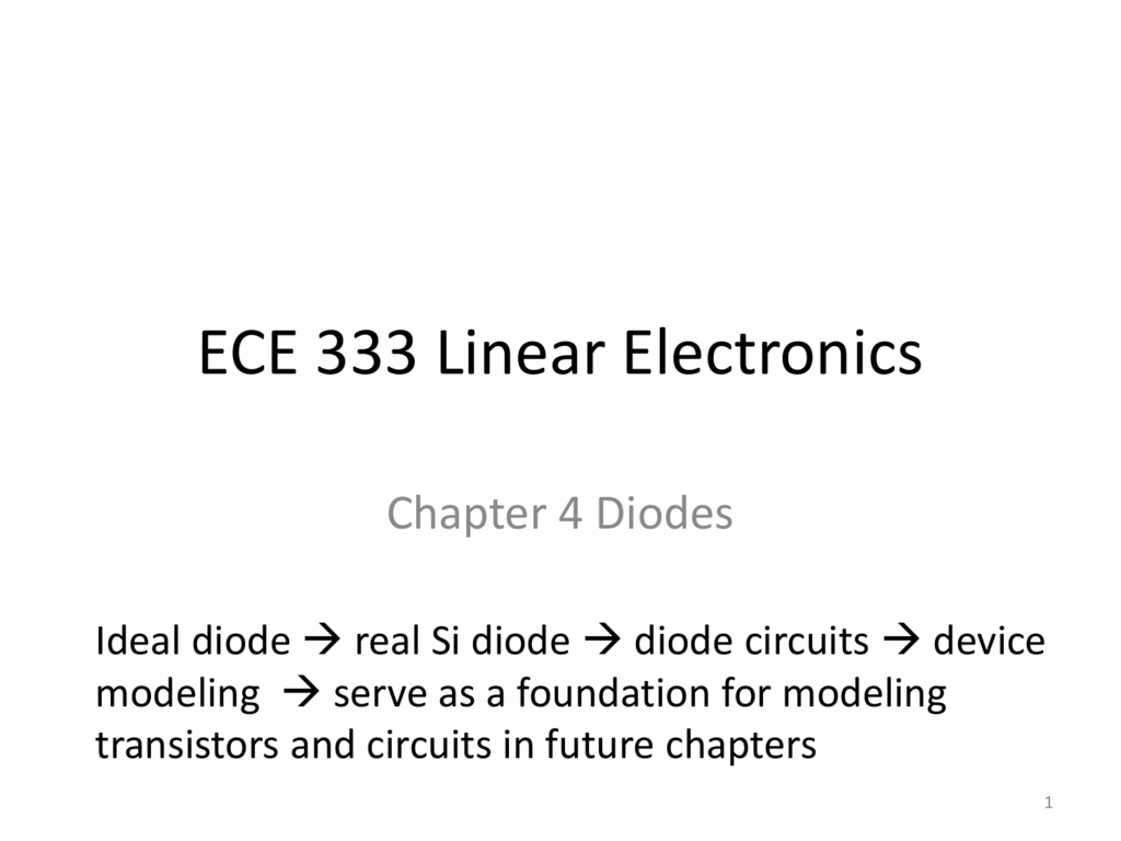 Lecture Notes The Gmu Ece Department Diodes In Circuits