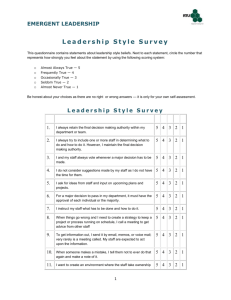 This questionnaire contains statements about leadership