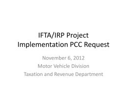IFTA/IRP Project Implementation PCC Request