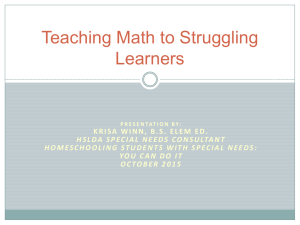 Teaching Math to Struggling Learners [Power Point]