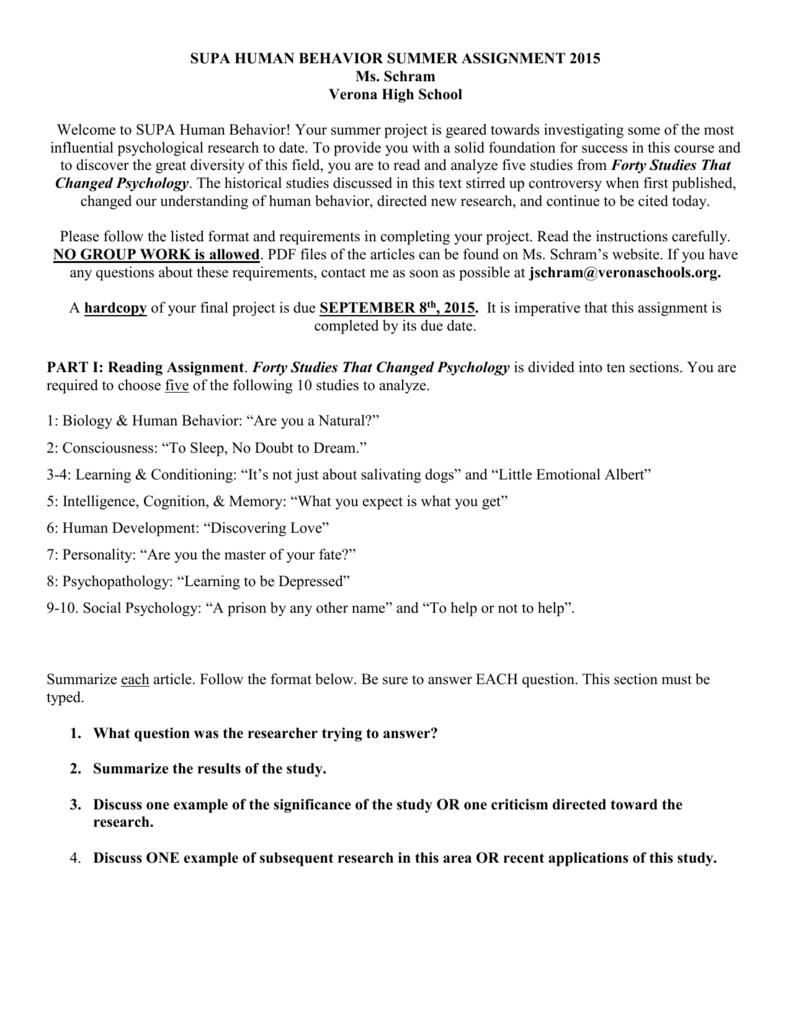 SUPA Psychology Summer Assignment 2015